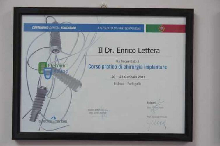 Attestato corso pratico di chirurgia implantare Dr. Enrico Lettera